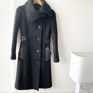 Mackage Chevron Weave Woven Wool Long Black Coat